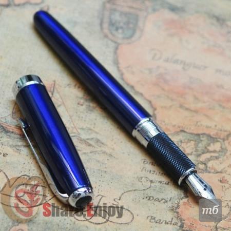 JINHAO-601-GLOSS-BLUE-AND-SILVER-18KGP-MEDIUM-NIB-FOUNTAIN-PEN-ARROW-CLIP